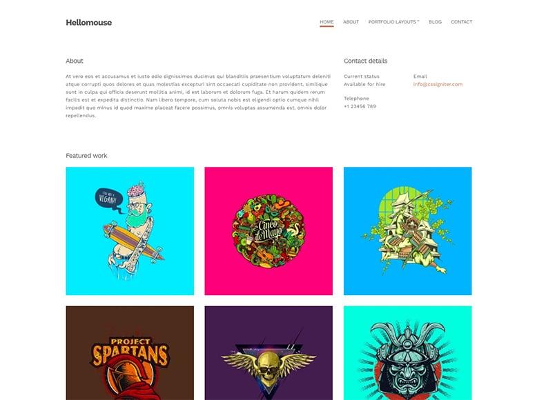 Hellomouse - Plantilla WordPress para portafolios minimalistas de creativos y artistas