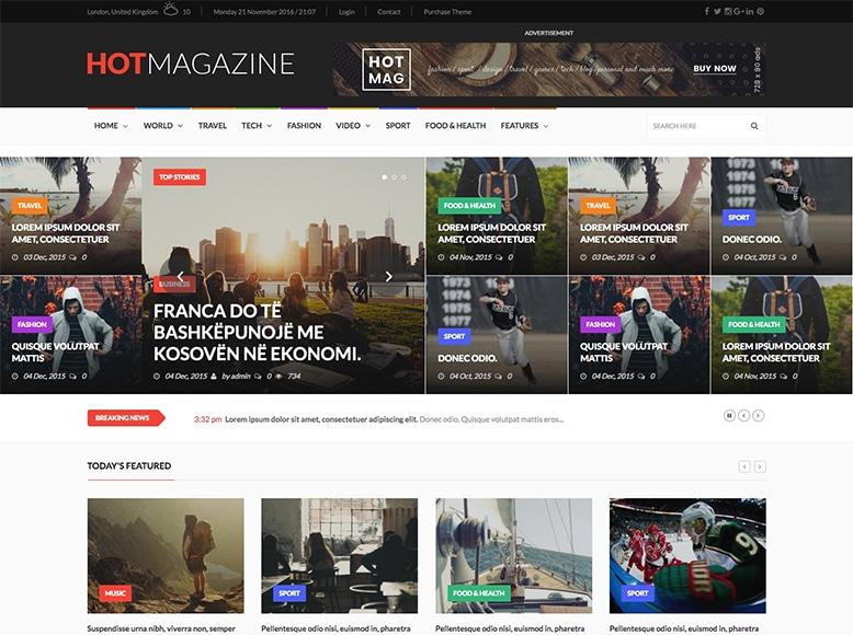 Hotmagazine - Tema WordPress para periódicos online de política, tecnología, deportes, moda