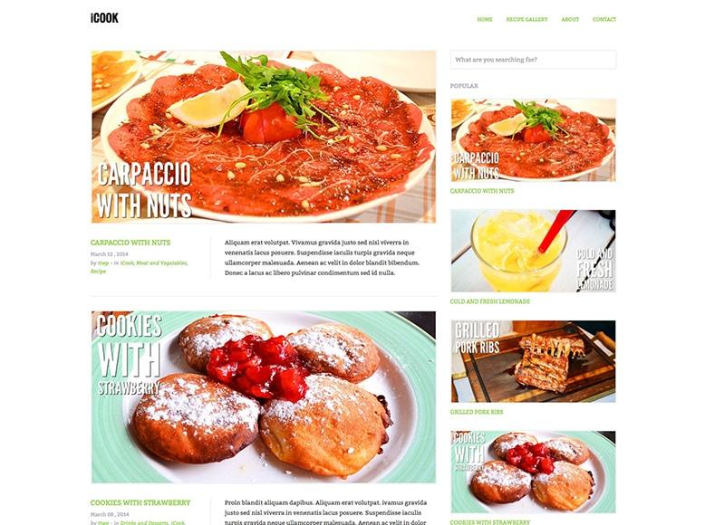 iCook - Plantilla WordPress para blogs y revistas de recetas, alimentos, cocina, gastronomía