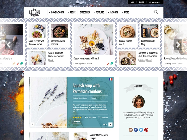 Neptune - Plantilla WordPress para blogs de recetas de cocina