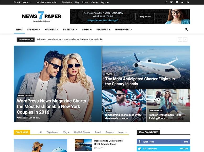 Newspaper 7 - Tema WordPress para periódicos digitales y sitios de noticias online