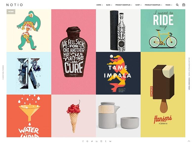 Notio - Plantilla WordPress para portafolios minimalistas de agencias creativas y artistas