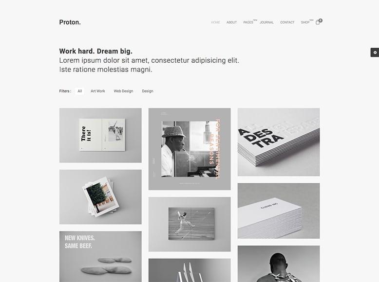 Proton - Plantilla WordPress para portafolios online minimalistas y de alta calidad