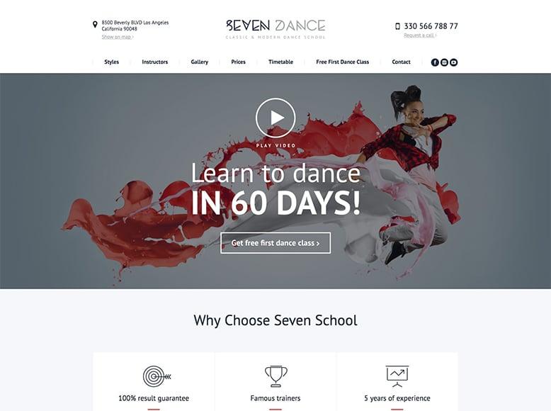 The7 - Plantilla WordPress para pequeños y medianos estudios de danza y baile