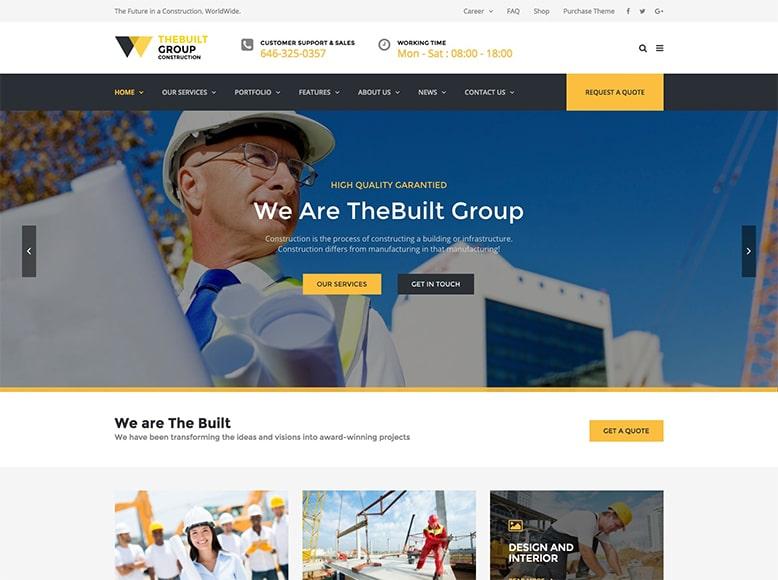 TheBuilt - Plantilla WordPress para modernas empresas constructoras