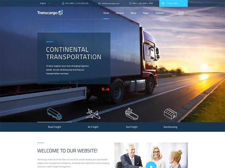 Transcargo - Plantilla WordPress para empresas de transporte y logística