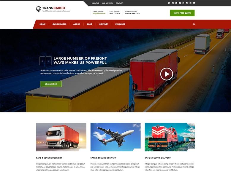 Trans Cargo - Plantilla WordPress para empresas de transporte de mercancías, logística, paquetería y almacenamiento