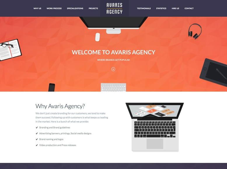 Avaris - Tema WordPress para sitios web a una sola página para empresas, agencias, freelances