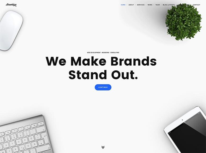 Brooklyn - Plantilla a una sola página de WordPress para startups, agencias y empresas