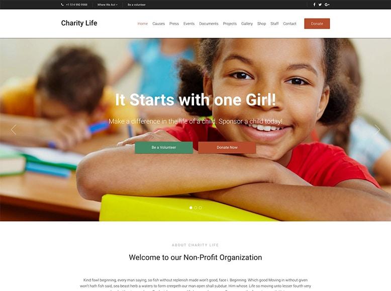 Charity Life - Plantilla WordPress para fundaciones benéficas, asociaciones sin ánimo de lucro, ONGs