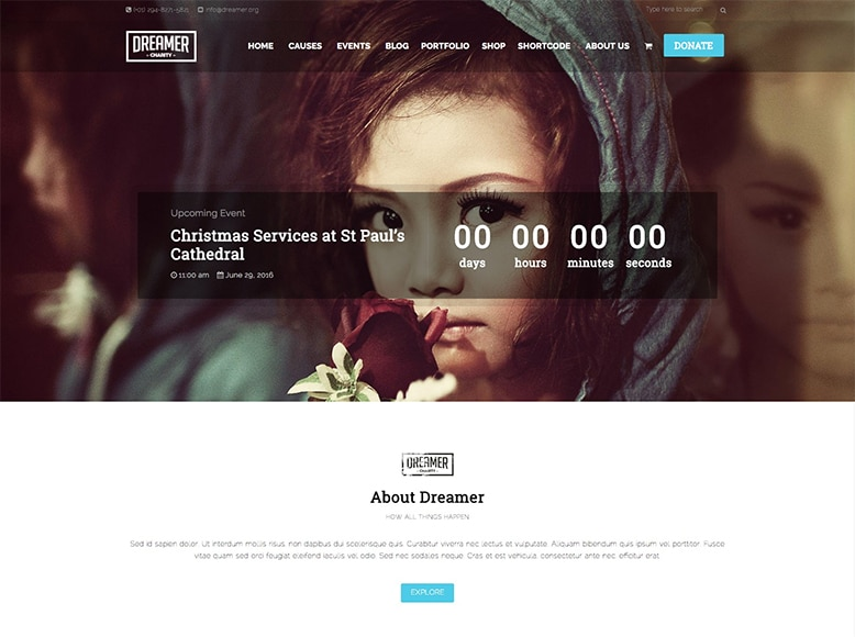 Dreamer - Plantilla WordPress para ONG, organizaciones caritativas, subvenciones y donaciones online