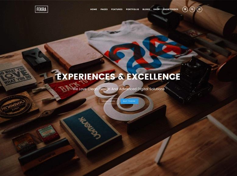 Fekra - Tema WordPress para portafolios a una sola página de empresas, startups y fotógrafos