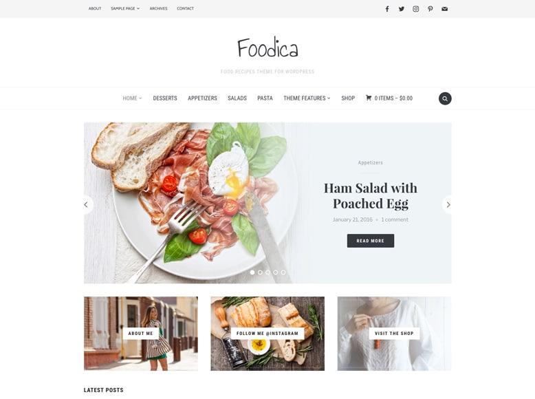 Foodica - Plantilla WordPress para blogs de recetas de cocina