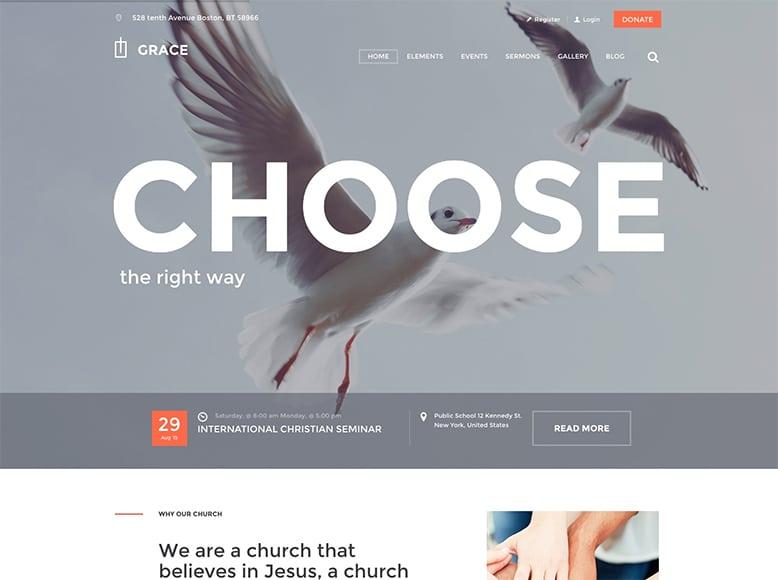 Grace - Plantilla WordPress para iglesias, grupos religiosos, organizaciones cristianas