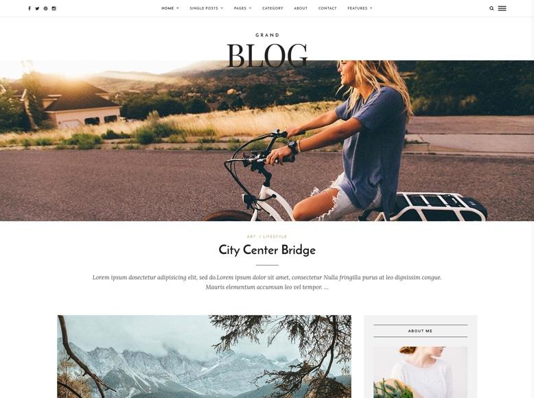 Grand Blog - Tema WordPress para blogs personales femeninos y revistas para mujeres