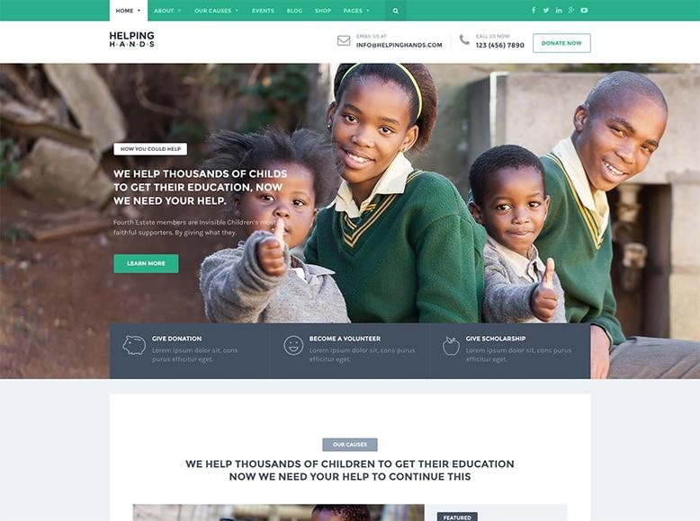 HelpingHands - Plantilla WordPress para ONGs, organizaciones sin ánimo de lucro, caritativas y humanitarias