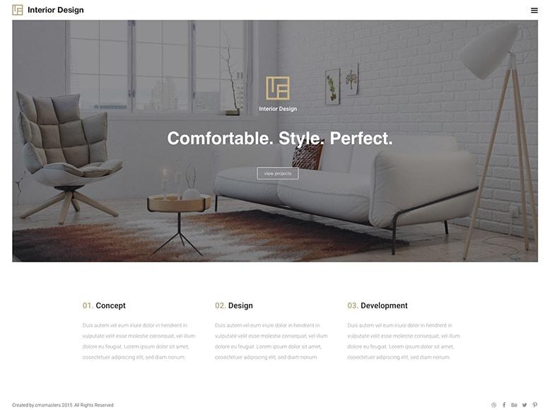 Interior Design - Plantilla WordPress para portafolios modernos y minimalistas de agencias de diseño de interiores