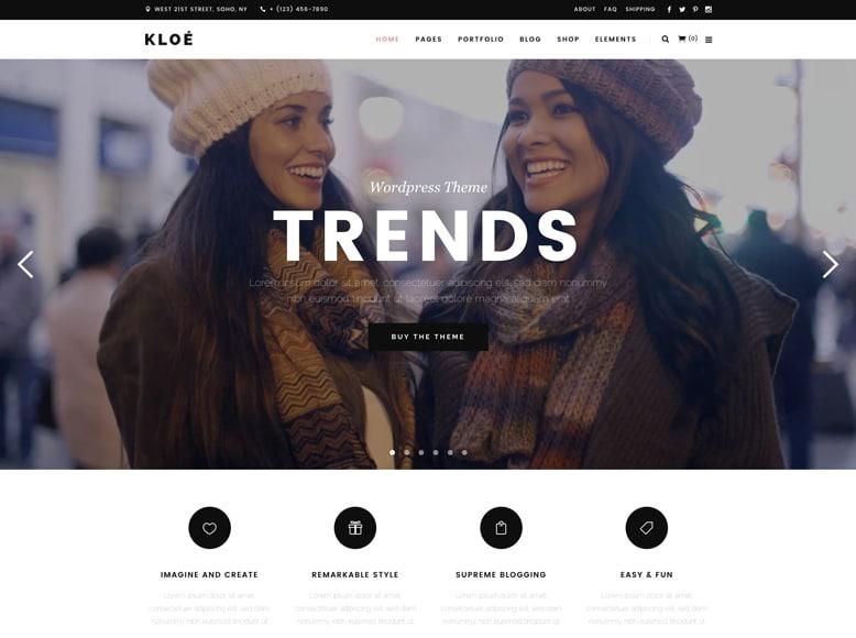 Kloe - Plantilla WordPress femenina para blogs, portafolios y tiendas online