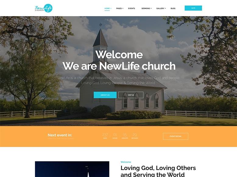 New Life - Plantilla WordPress para iglesias, templos, sinagogas, mezquitas, asociaciones caritativas