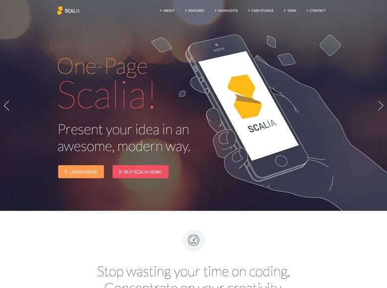 Scalia - Tema WordPress a una página para portafolios de trabajos, apps y promoción de productos