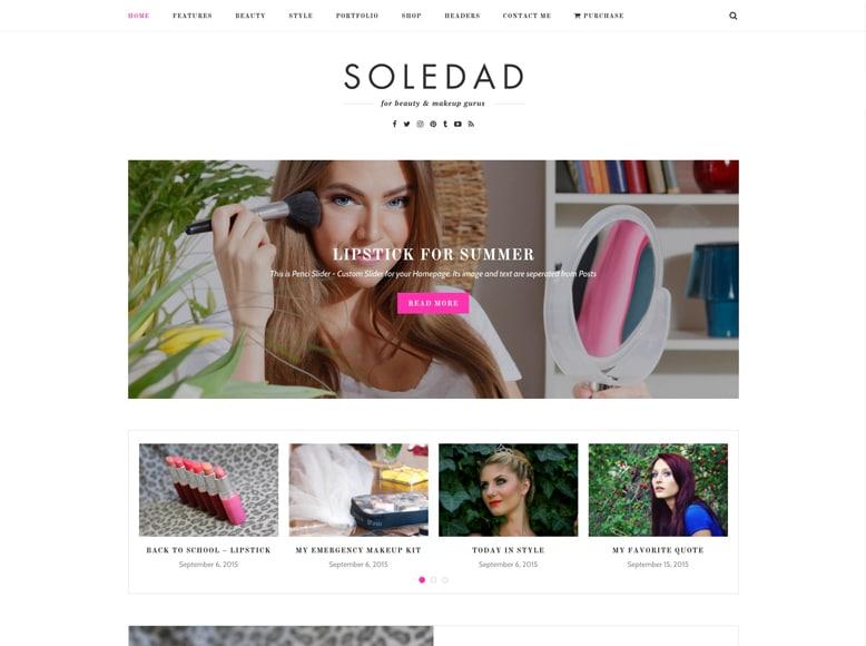 Soledad - Plantilla WordPress para blogs, revistas y portafolios de mujeres