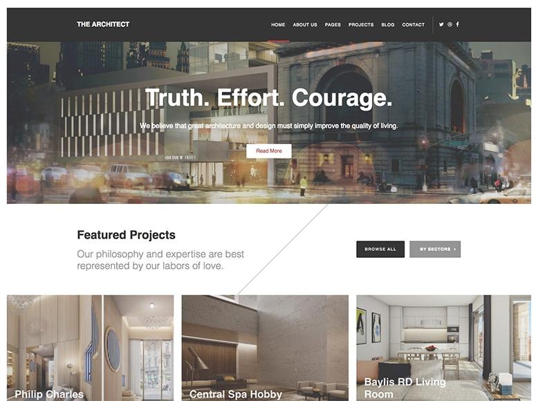The Architect - Plantilla WordPress para portafolios de estudios de arquitectura