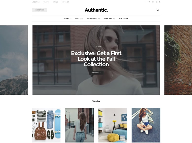 Authentic - Plantilla WordPress para blogs y revistas online de moda, estilos de vida, tendencias