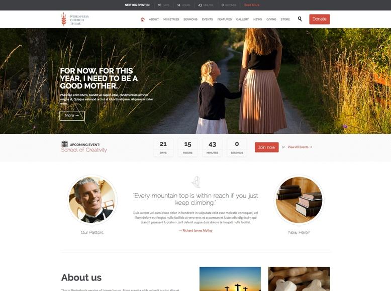 Church and Events - Plantilla WordPress para eventos de iglesias y eventos religiosos