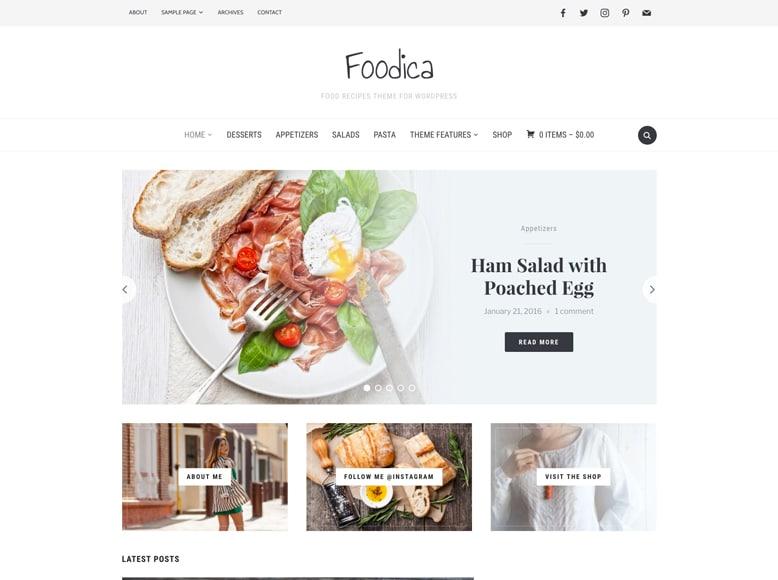 Foodica - Plantilla WordPress para blogs femeninos de recetas de cocina