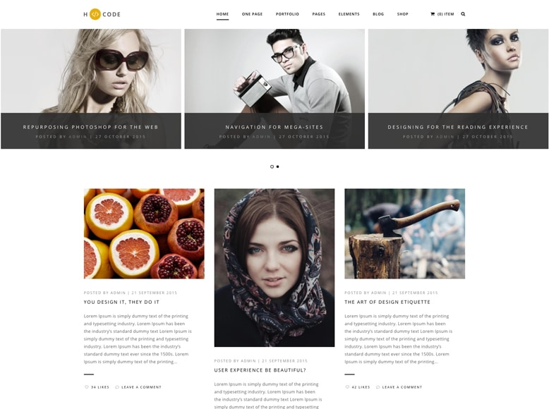 H-Code - Plantilla WordPress para modernos y creativos blogs de moda y tendencias