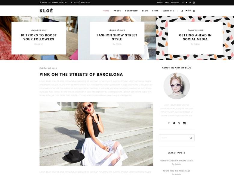 Kloe - Plantilla WordPress minimalista para blogs de moda, tendencias y estilos de vida
