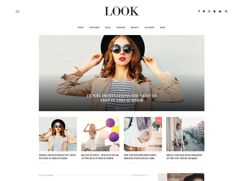 Look - Tema WordPress elegante para blogs personales de moda, belleza y tendencias