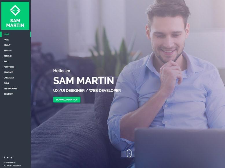 Sam Martin - Plantilla WordPress para portafolios profesionales y currículums digitales