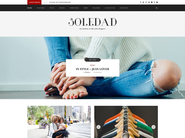 Soledad - Plantilla WordPress para blogs, revistas y portafolios de moda y tendencias