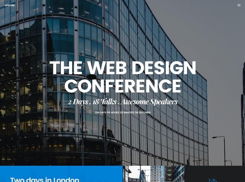 Uncode - Plantilla WordPress para promoción de eventos y conferencias creativas