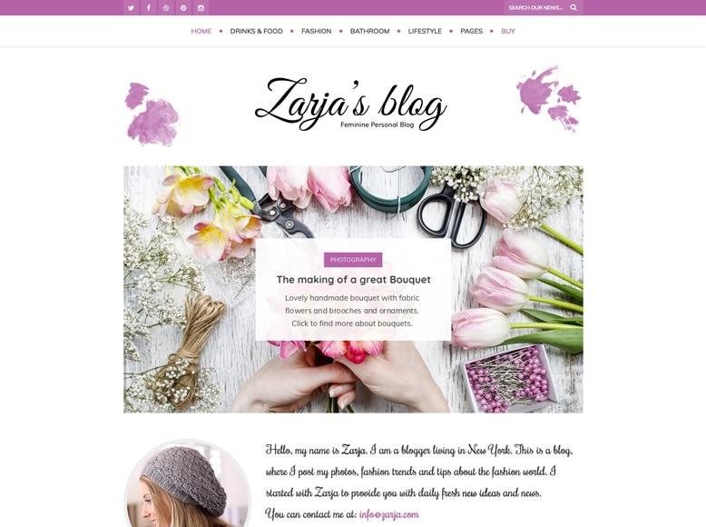 Zarja - Tema WordPress moderno para blogs personales y revistas online femeninas