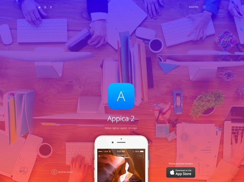 Appica 2 - Plantilla WordPress para la promoción de aplicaciones móviles iOS y Android