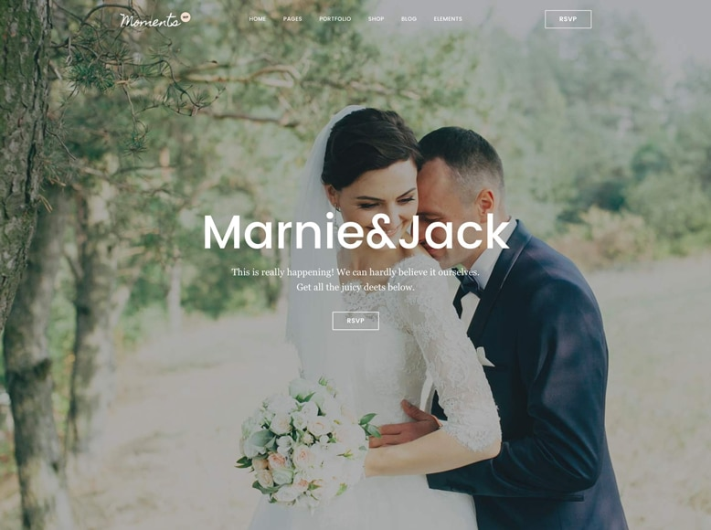 Moments - Plantilla WordPress para sitios web de bodas, eventos y celebraciones