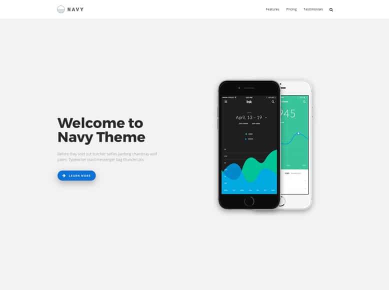 Navy - Plantilla WordPress profesional para presentación de aplicaciones para móviles