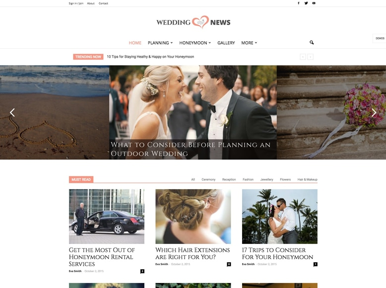 Newspaper 7 - Plantilla WordPress para revistas digitales de boda y celebraciones