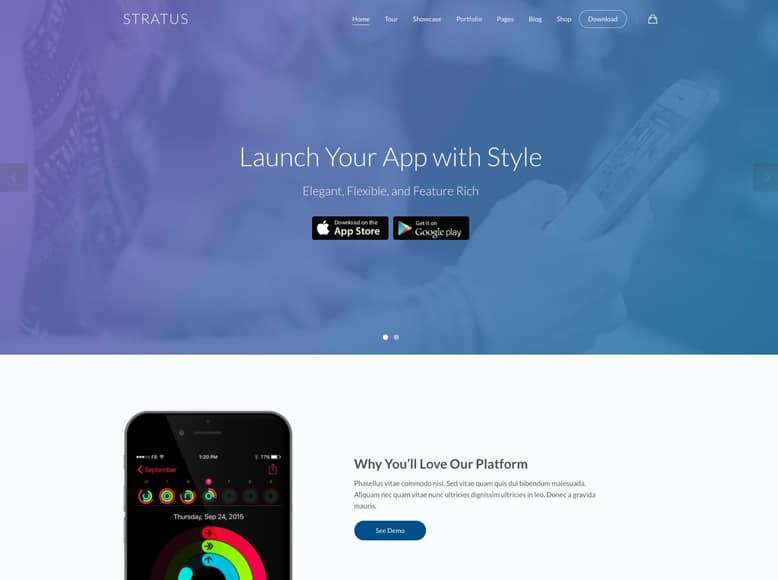 Stratus - Plantilla WordPress para promoción de aplicaciones móviles y software