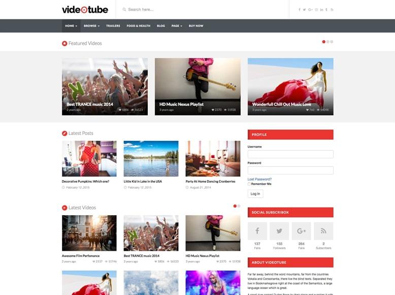 VideoTube - Tema WordPress para compartir vídeos online y portafolios audiovisuales