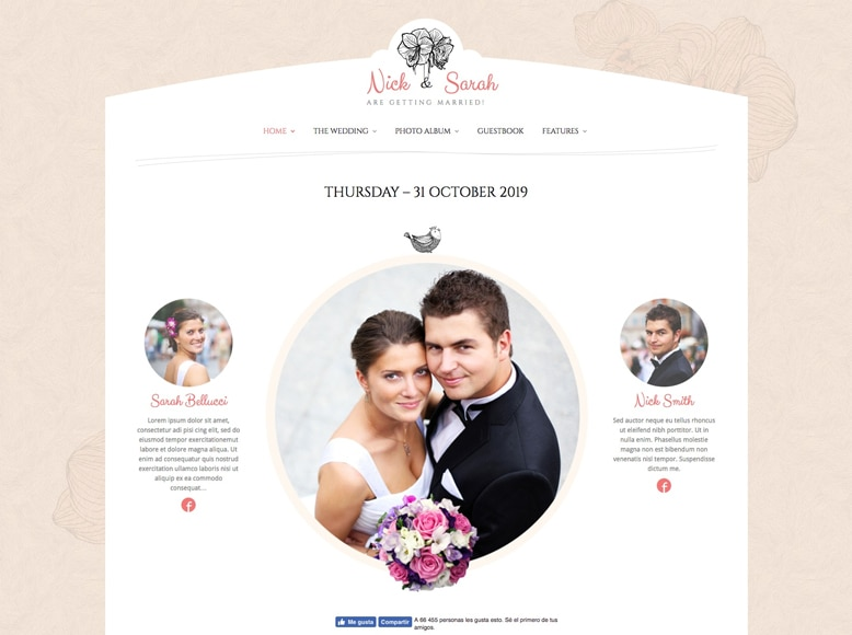 The Wedding Day - Plantilla WordPress elegante y encantadora para bodas, eventos y celebraciones