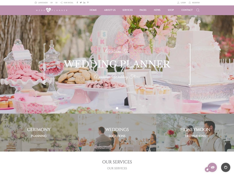 Wedding Industry - Plantilla WordPress para bodas, salones, modistas y organizadores de eventos