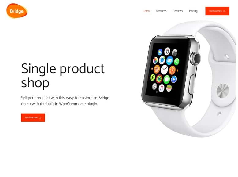 Bridge - Plantilla WordPress minimalista para el marketing de productos, apps y servicios