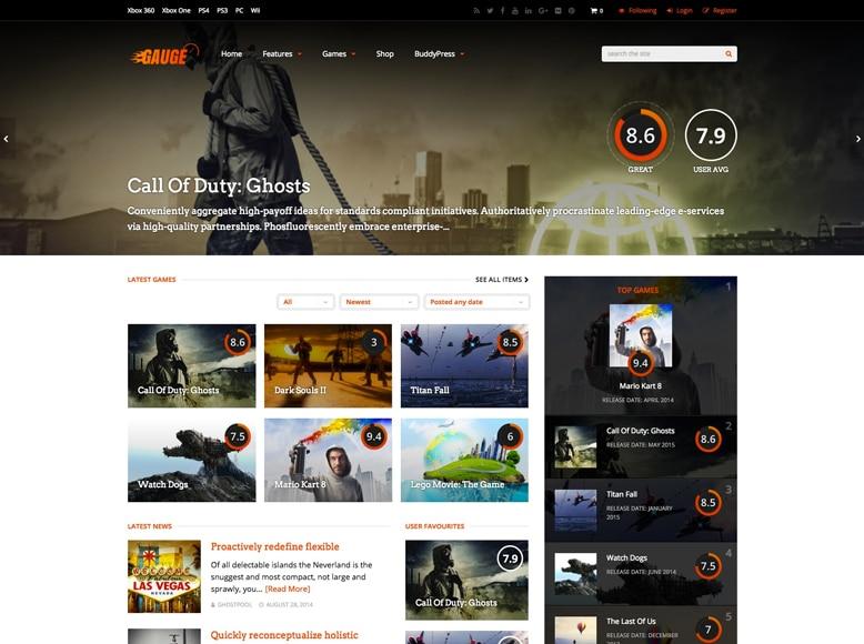 Gauge - Plantilla WordPress para sitios web de análisis de juegos, películas, series