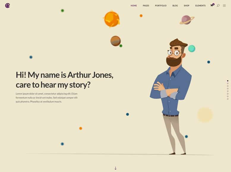 Illustrator - Plantilla WordPress para ilustradores, animadores, dibujantes, diseñadores, artistas