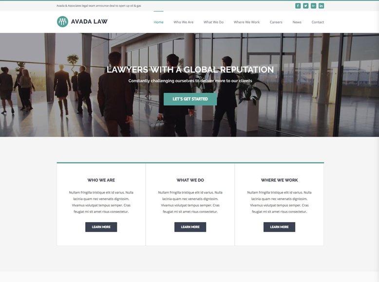 Avada - Plantilla WordPress elegante para despachos de abogados, asesorías legales, jurídicas y laborales