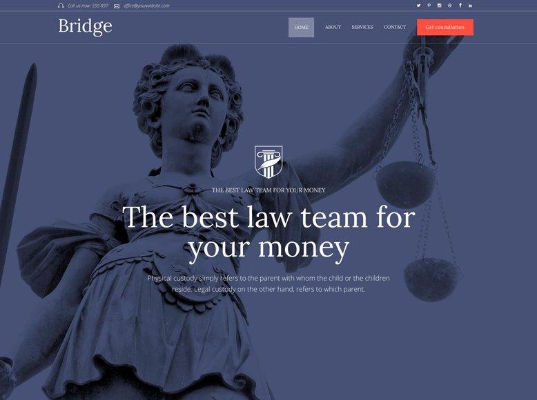 Bridge - Plantilla WordPress minimalista para abogados, asesorías legales y notarías
