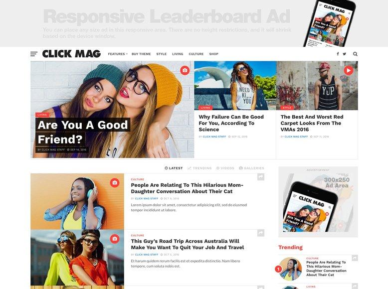 Click Mag - Plantilla WordPress para revistas online virales con zonas para publicidad